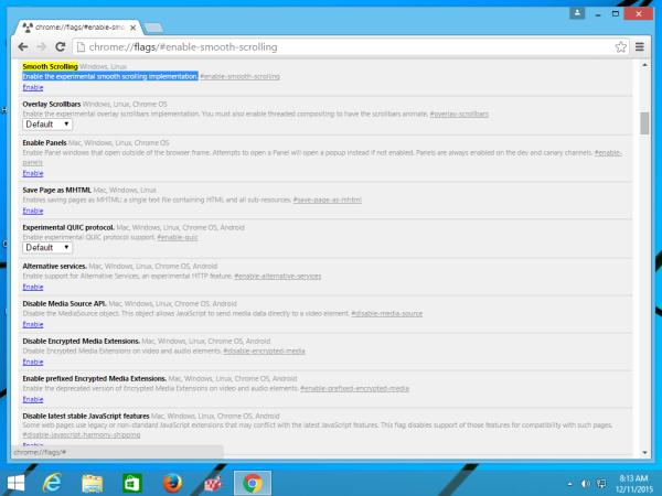 Activer le défilement fluide dans Google Chrome