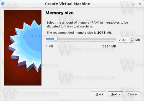 Mémoire de la machine VirtualBox