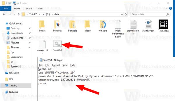Créer un raccourci pour la machine virtuelle Hyper-V dans Windows 10