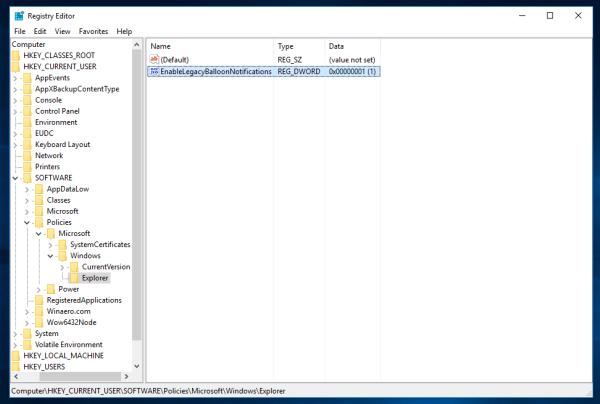 Activer les notifications par bulles dans Windows 10 à l'aide d'un ajustement du registre