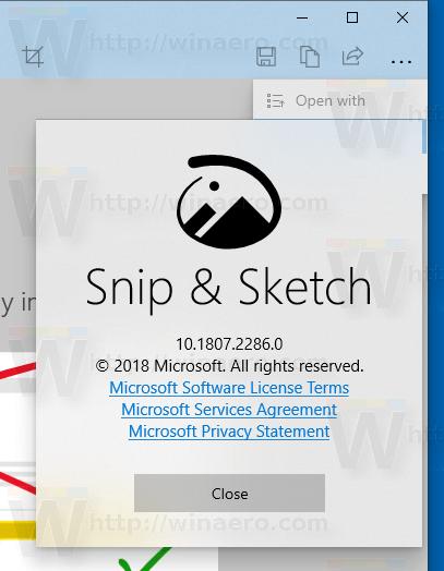 שמה של סקיצה למסך שונה ל- Snip & Sketch ב- Windows 10