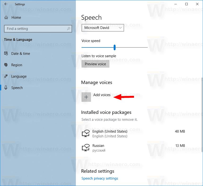 Kõnehääle lisamine ja eemaldamine Windows 10-s