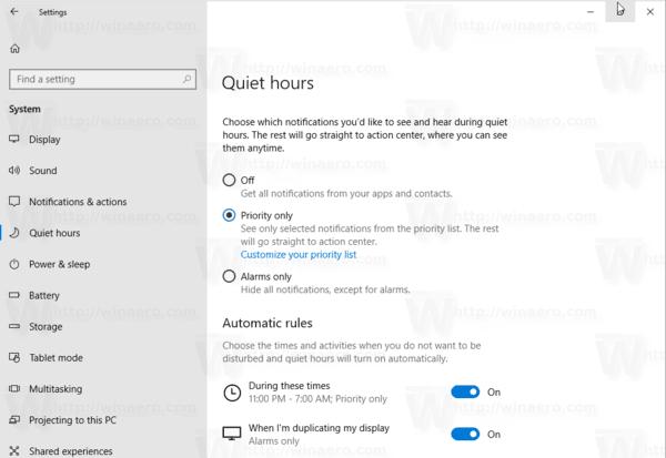 Promijenite automatska pravila za pomoć pri fokusiranju u sustavu Windows 10