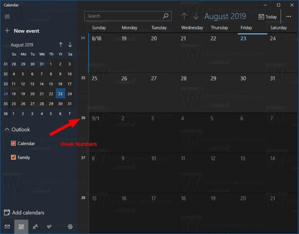 Activer les numéros de semaine pour l'application Calendrier dans Windows 10