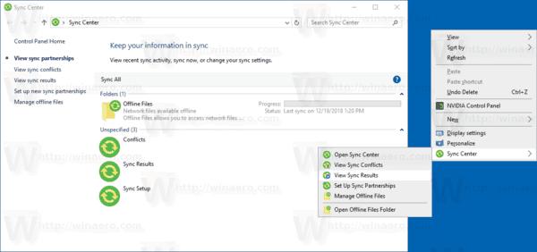 Dodajte kontekstni izbornik centra za sinkronizaciju u sustavu Windows 10