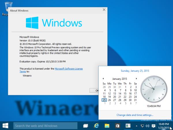 Hi ha un nou panell per a Data i hora al Windows 10 Build 9926