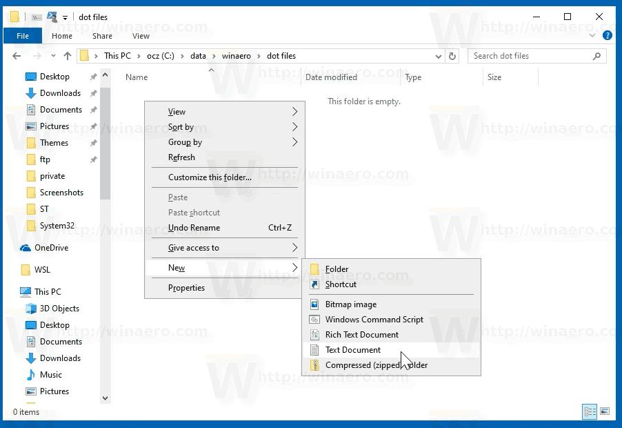 Vous pouvez créer et renommer des fichiers commençant par Dot dans Windows 10