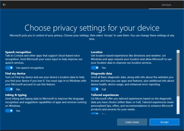Désactiver l'expérience des paramètres de confidentialité lors de la connexion dans Windows 10