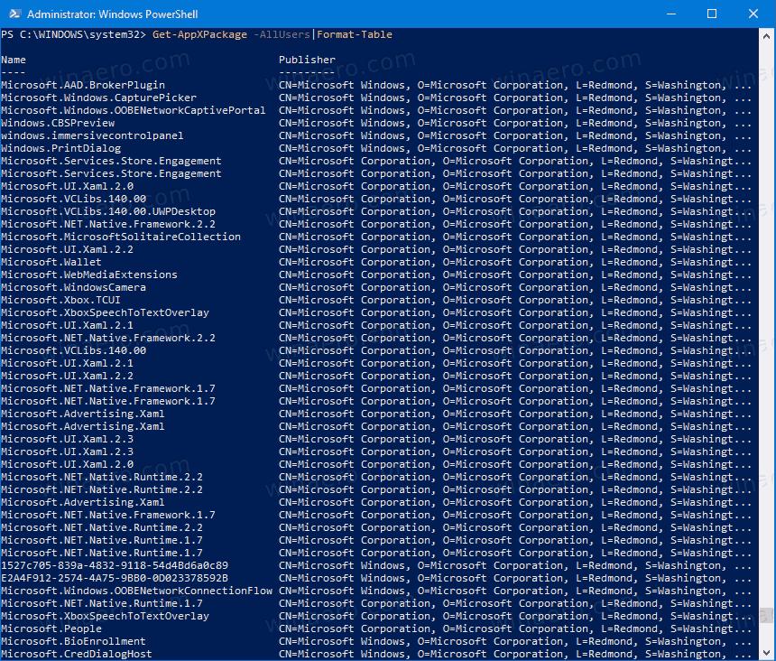 אפס אפליקציית חנות ב- Windows 10 באמצעות PowerShell