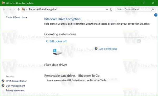 Vérifier l'état du chiffrement de lecteur BitLocker dans Windows 10