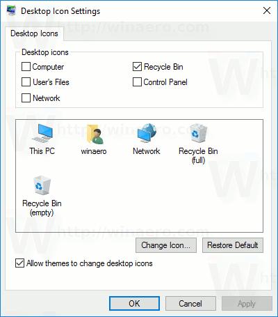 Zmień ikonę panelu sterowania w systemie Windows 10