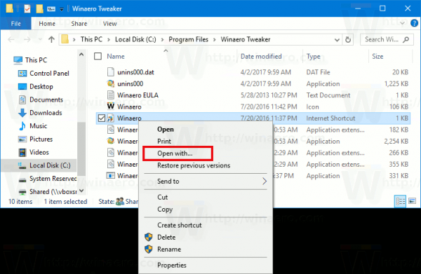 Dodajte Open With u URL datoteke u sustavu Windows 10