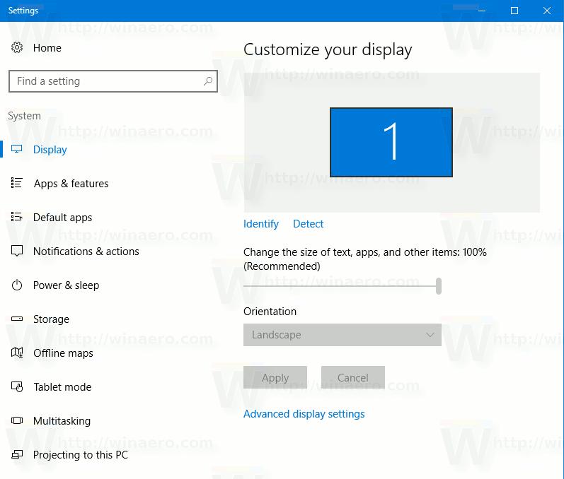 Windows 10 Creators Update에서 디스플레이 해상도 변경