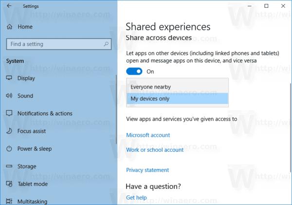 Onemogućite dijeljena iskustva u sustavu Windows 10