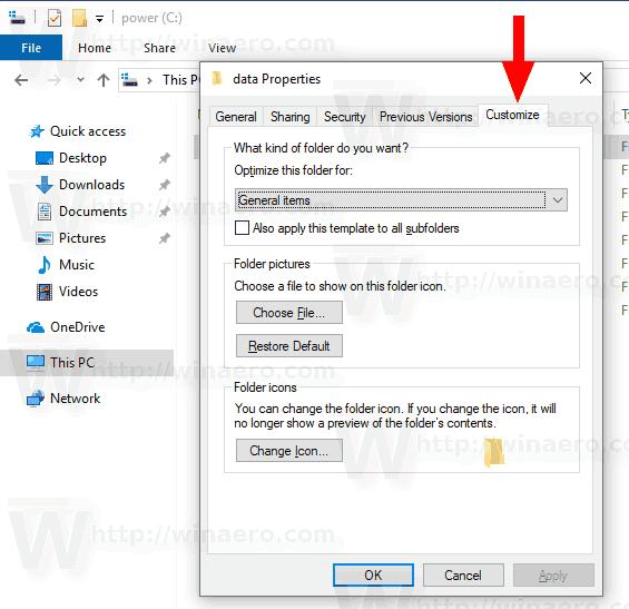 Ajouter l'onglet Personnaliser au dossier du bureau dans Windows 10