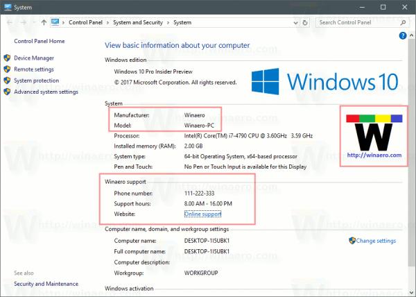 Promijenite ili dodajte informacije o OEM podršci u sustavu Windows 10