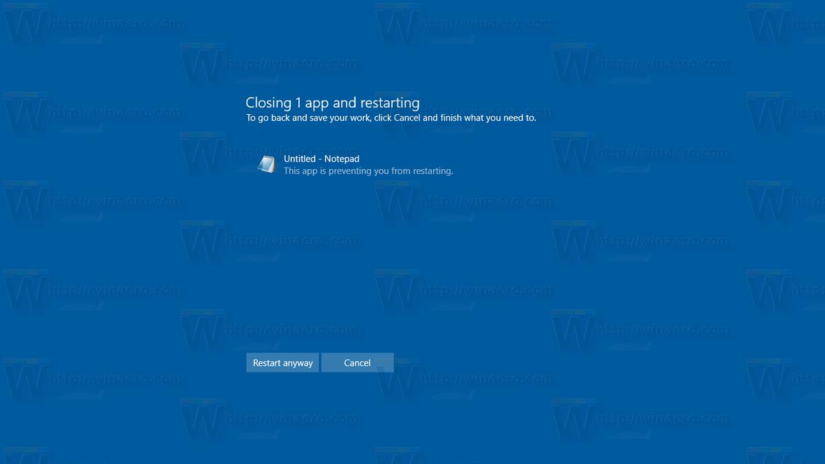 Fermer les applications automatiquement au redémarrage, à l'arrêt ou à la déconnexion dans Windows 10